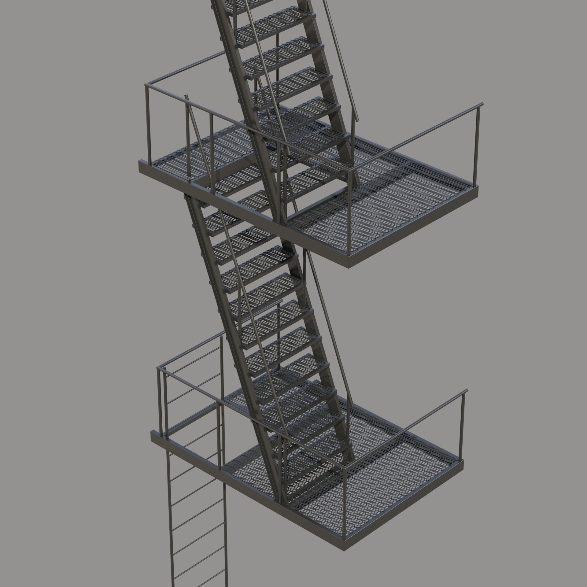 Fire Escape Stair 3d Model Max Fbx Cgtrader Com