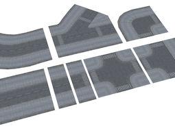 3D model low-poly Town Roads Construction Kit