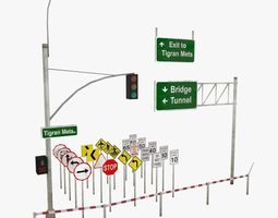 3D asset Traffic and road signs pack