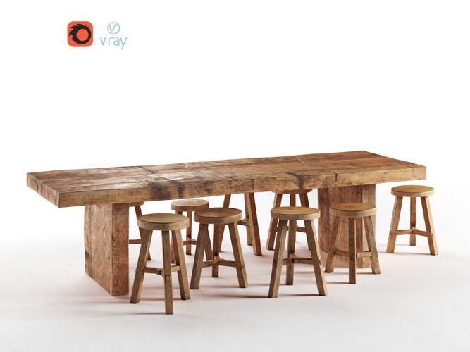 wooden dining table 3d model max obj 1