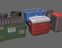 Dustbin Garbage Box Lowpoly 3D model