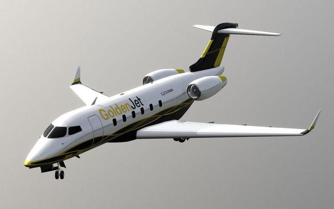 bombardier challenger 300 aircraft jet plane 3d model low-poly obj 3ds fbx stl blend dae 1