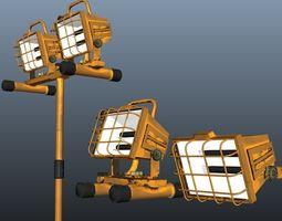 3D asset Halogen Work Lights Lowpoly