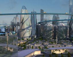 science fiction city 3D model