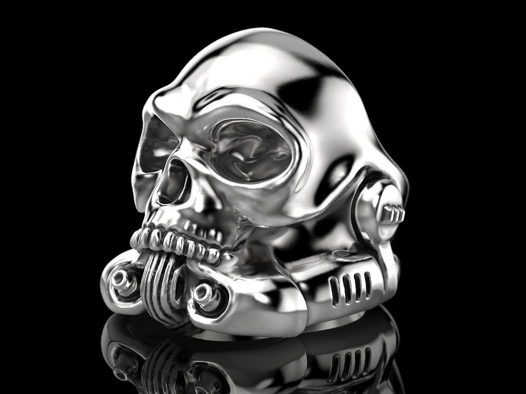 image about Stormtrooper Printable named Stormtrooper skull ring 3D Print Design and style