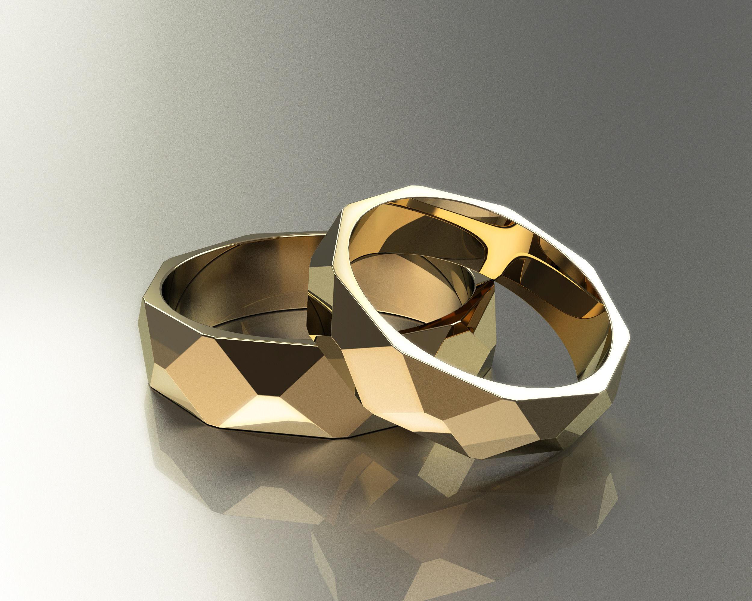 Polygon Wedding Rings 3d Model 3d Printable Stl 3dm