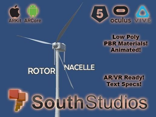 animated wind turbine power ar vr unity 3dsmax 3d model low-poly rigged animated max unitypackage prefab 1