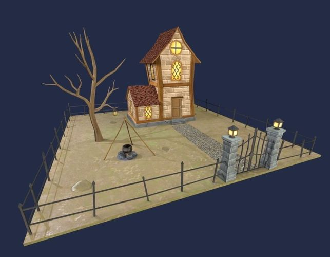 fantasy house low polygon 3d model low-poly obj fbx blend mtl 1