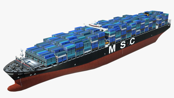 container ship msc ariane 3d model low-poly max obj mtl 3ds fbx 1