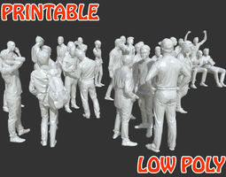 3D model 30 Low Poly Male People Posed - Printable Pack