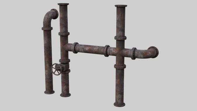 industrial pipes 1a 3d model low-poly obj mtl fbx blend 1