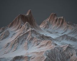 3D asset Snowy Mountains PBR Game Ready