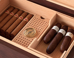 3D model Humidor filled with cigars