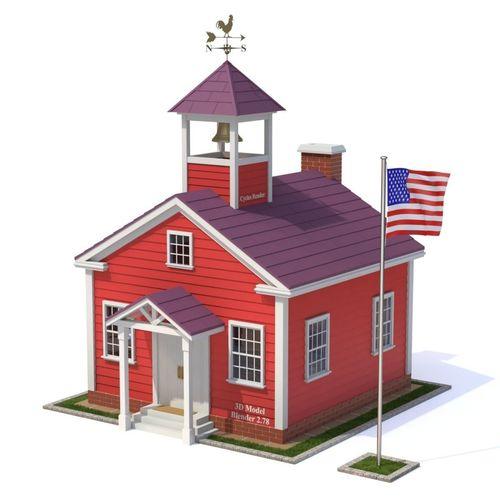 school house 3d model obj mtl fbx blend 1