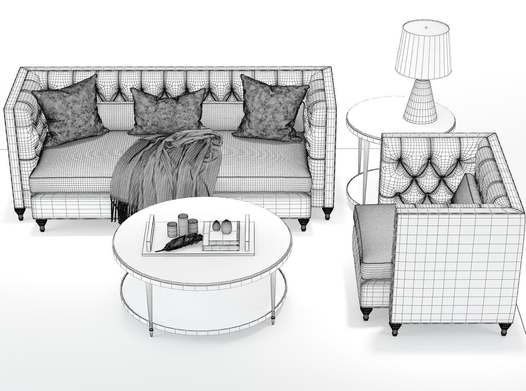 ... Baker Blake Tufted Extended Sofa Blake Tufted Lounge Chair 3d Model Max  Obj Mtl ...