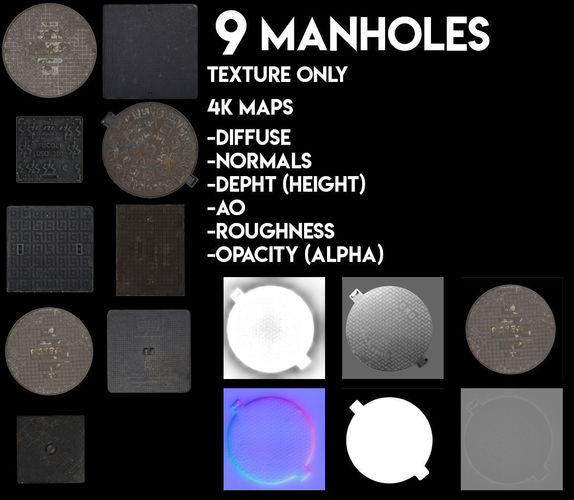 9 manholes textures pack 3d model low-poly  1