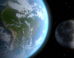 3D continents Realistic Earth and the Moon