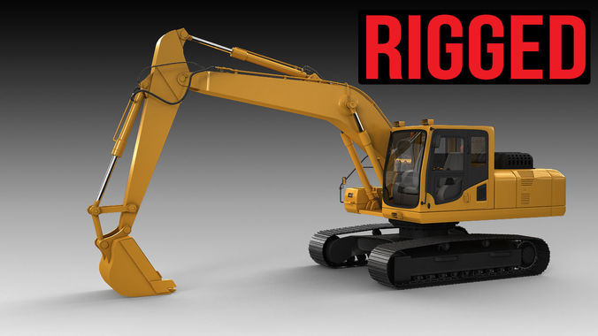 excavator  rigged 3d model rigged max 1