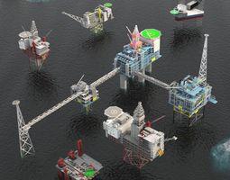Standing Oil rig and platform pack 3D asset