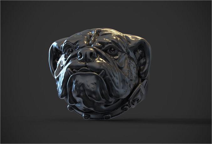 ring bulldog  3d model obj mtl stl 1