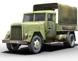 3d asset german wwii henschel truck low-poly