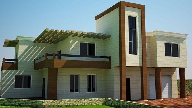 Modern villa 3d model max obj 3ds dwg for Model villa moderne