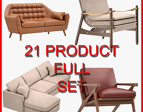 3D Armchair and Sofa Set 003 21 Product