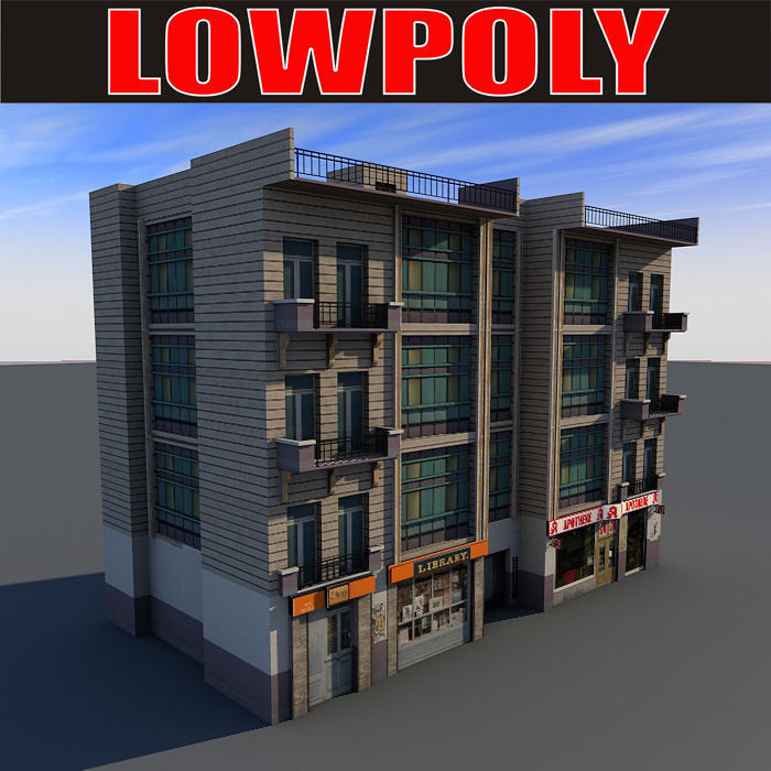 Lowpoly Building 02 3d Model Game Ready Max Obj 3ds