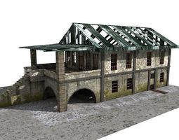 3D model Lowpoly Abandoned Building