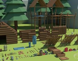 Ultimate Low Poly Survival Pack 3D asset