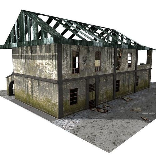 Lowpoly Abandoned Building 1b