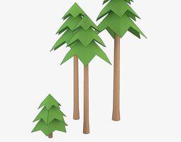 Cartoon Coniferous Tree 3D model