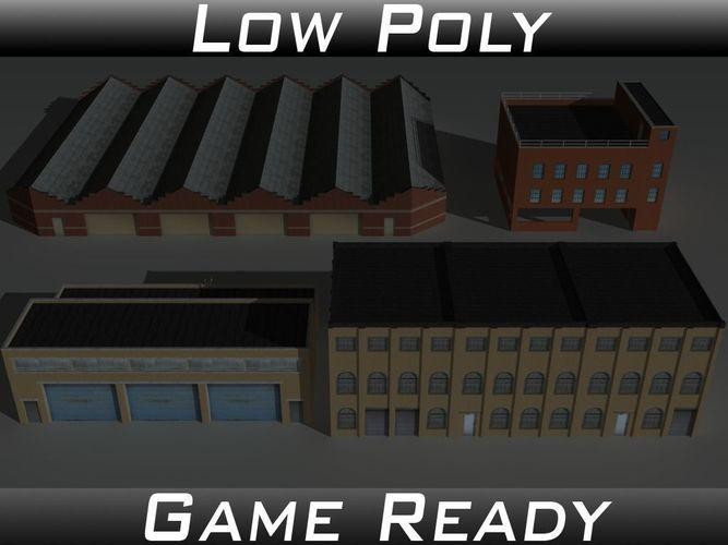 factory building set 3 3d model low-poly obj 3ds fbx mtl 1