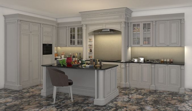 classic kitchen cabinet 2 3d cgtrader rh cgtrader com classic kitchen cabinets edmonton classic kitchen cabinets design