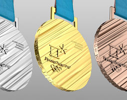 Olympic Medal Gold Silver Bronze 2018 3D model