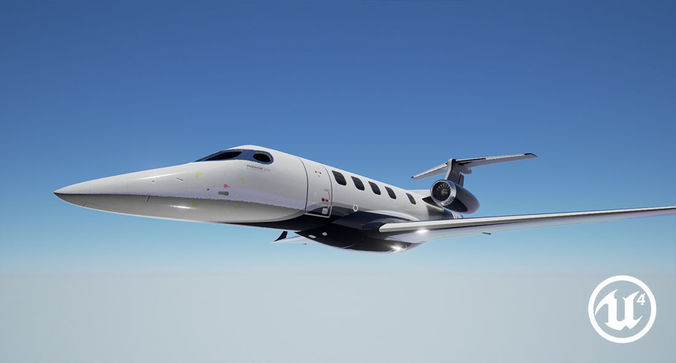 realistic pbr embraer phenom 300 private jet 3d model obj mtl 3ds fbx blend 1