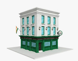 Irish pub building public 3D