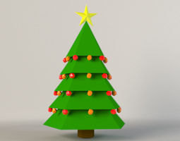 Low Poly Christmas Tree 3D model realtime