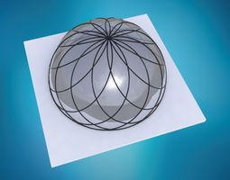 Dome spiral with glass and wire frame structure 3D asset