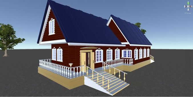 russian wooden house in siberian village - 2 for games 3d model fbx 1