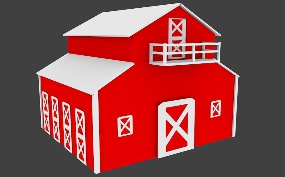graphic about Barn Printable identified as 3d Printable Barn CGTrader