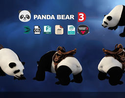 realtime Panda 3D Models Low poly Fight