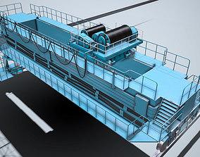 3D asset Overhead crane - Blue and Yellow - PBR