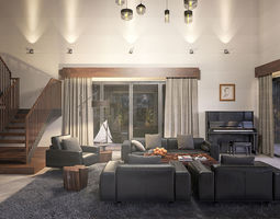 Villa living room 3D