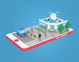 3D asset Cartoon Cocktail Cafe on Phone screen