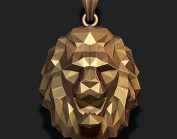 3D print model male Lion pendant low poly