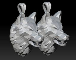 3D print model angry wolf low poly pendant