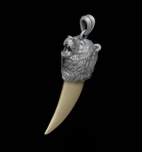 Bear tooth nail pendant 3d print model stone cgtrader bear tooth nail pendant 3d model stl 3dm 1 aloadofball Image collections