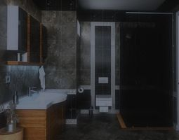 3D model rigged Bathroom design