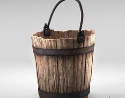 Realistic Wooden Aged Medieval Bucket 3D model